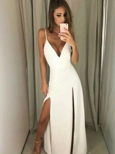A-Line V-Neck White Satin Prom Dress with Split