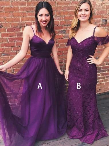 A-Line Spaghtti Straps Grape Chiffon Prom Dress