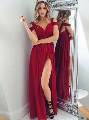 A-Line V-Neck Floor-Length Dark Red Chiffon Prom Dress with Split