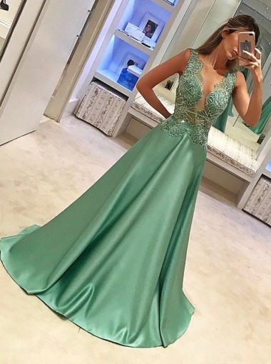 A-Line Crew Sleeveless Sweep Train Green Satin Prom Dress with Appliques Beading