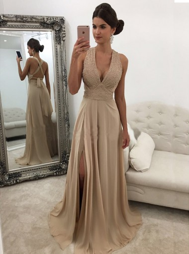 Sheath Deep V-Neck Sweep Train Criss-Cross Straps Champagne Chiffon Prom Dress with Beading