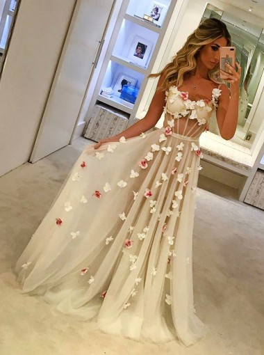 A-Line Spaghetti Straps Sweep Train Ivory Tulle Prom Dress with Flowers
