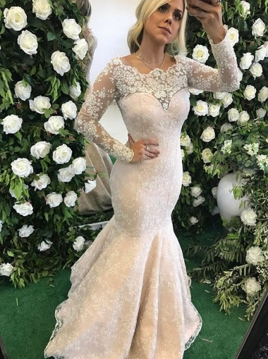 Mermaid Crew Sweep Train Long Sleeves Pearl Pink Lace Prom Dress