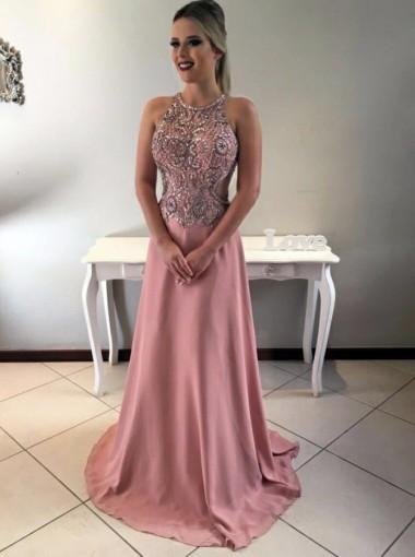 A-Line Round Neck Open Back Blush Chiffon Prom Dress with Beading