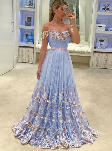 A-Line Off-the-Shoulder Light Sky Blue Tulle Prom Dress with Appliques