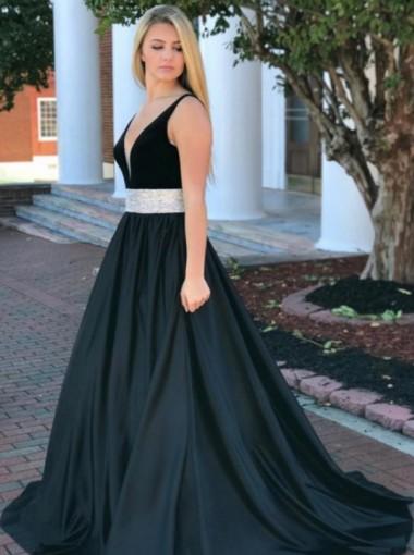 A-Line V-Neck Sweep Train Black Satin Prom Dress with Sequins Waist