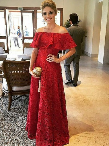 A-Line Off-the-Shoulder Red Lace Evening Prom Dress with Ruffles