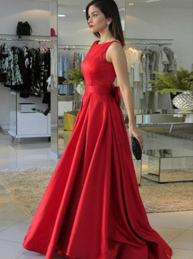 A-Line Round Neck Red Satin Prom Dress with Bowknot