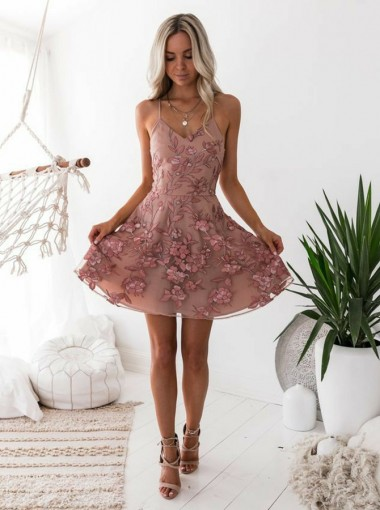 A-Line Spaghetti Straps Blush Homecoming Dress with Appliques