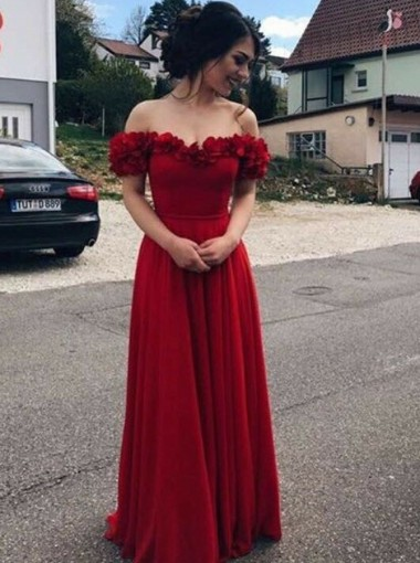 A-Line Off-the-Shoulder Dark Red Chiffon Prom Dress with Flower