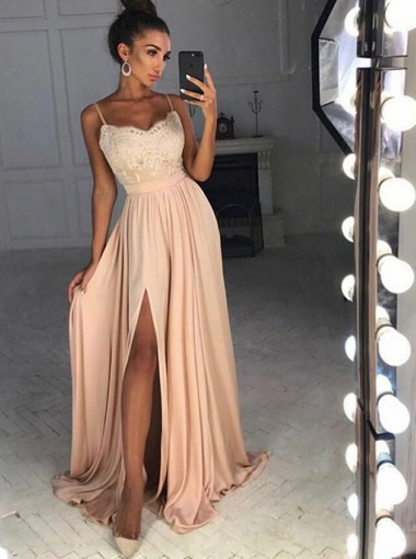 A-Line Spaghetti Straps Sweep Train Split-Side Champagne Chiffon Prom Dress with Appliques
