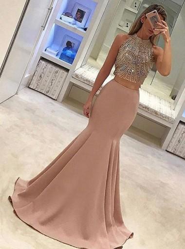 Mermaid Jewel Sweep Train Blush Stretch Satin Prom Dress with Beading
