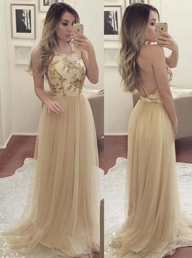 A-Line Halter Sweep Train Criss-Cross Straps Champagne Tulle Prom Dress