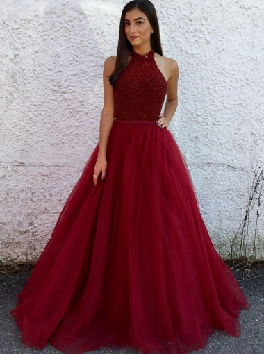 A-Line Halter Open Back Dark Red Tulle Prom Dress with Beading