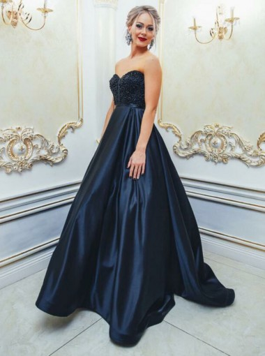 A-Line Sweetheart Navy Blue Satin Prom Dress with Beading