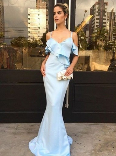 Mermaid Spaghetti Straps Light Blue Satin Prom Dress with Ruffles