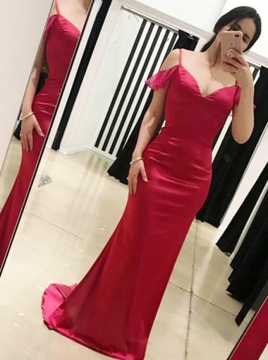 Mermaid Cold Shoulder Open Back Red Elastic Satin Prom Dress