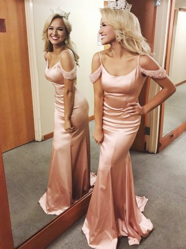 Mermaid Spaghetti Straps Pink Elastic Satin Prom Dress with Beading
