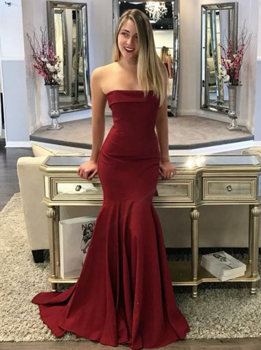Mermaid Strapless Sweep Train Maroon Elastic Satin Prom Dress
