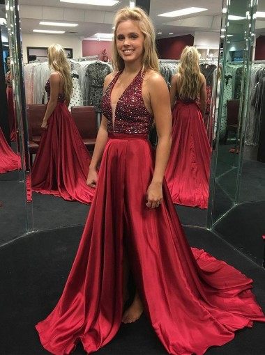 A-Line Halter Backless Dark Red Prom Dress with Beading Split