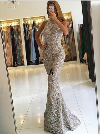 Mermaid High Neck Detachable Lace Evening Prom Dress with Sequins