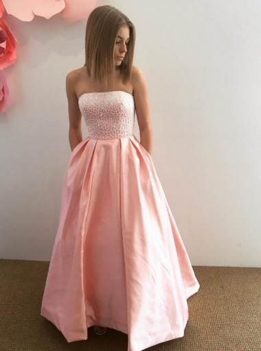 A-Line Strapless Pink Satin Prom Dress with Pockets Lace