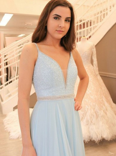 A-Line V-Neck Light Blue Chiffon Prom Dress with Beading