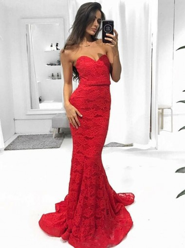 Mermaid Sweetheart Sweep Train Red Lace Prom Dress