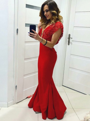 Mermaid V-Neck Red Satin Prom Dress with Lace Beading