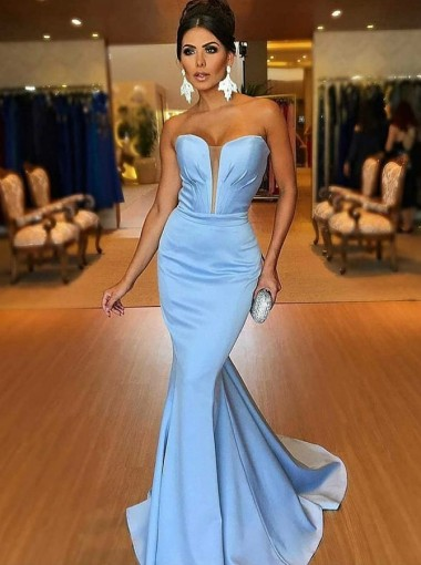 Mermaid Strapless Sweep Train Blue Satin Prom Dress