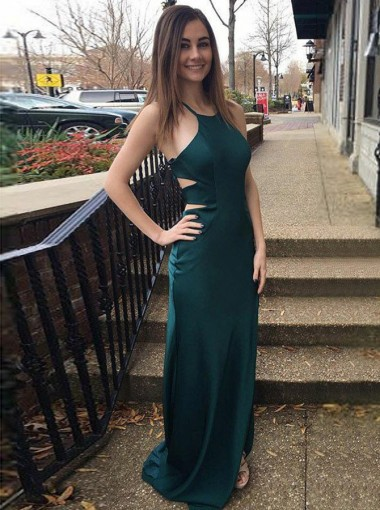 Sheath Round Neck Open Back Green Satin Prom Dress