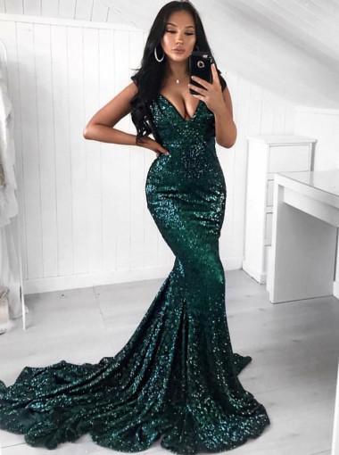 Mermaid Sweep Train V-Neck Green Sequined Prom Dress