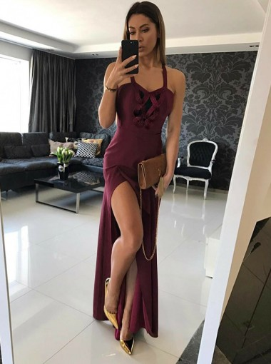 Sheath Straps Burgundy Satin Prom Dress with Split