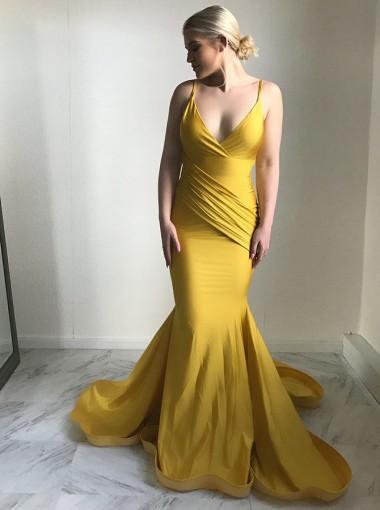 Mermaid Spaghetti Straps Sweep Train Ruched Yellow Satin Prom Dress
