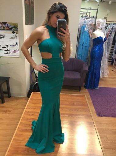 Mermaid Jewel Cut-out Sweep Train Green Satin Prom Dress