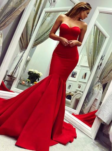 Mermaid Sweetheart Sweep Train Red Satin Prom Dress