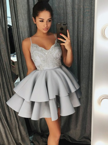 A-Line Spaghetti Straps Grey Satin Homecoming Dress with Lace Beading