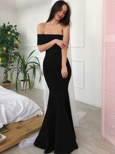 Mermaid Off-the-Shoulder Long Black Satin Prom Dress