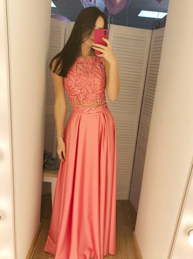 Two Piece Round Neck Sleeveless Satin Prom Dress with Lace Sequins
