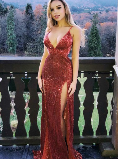 Sheath V-Neck Red Sequins Prom Party Prom Dress with Split