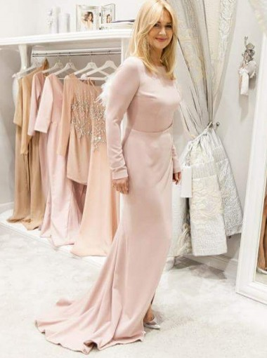 Sheath Bateau Sweep Train Pink Satin Evening Dress with Sleeves