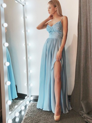 A-Line Spaghetti Straps Blue Chiffon Prom Party Dress with Appliques