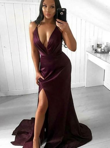 Mermaid V-Neck Sweep Train Wine Satin Prom Party Dress with Split