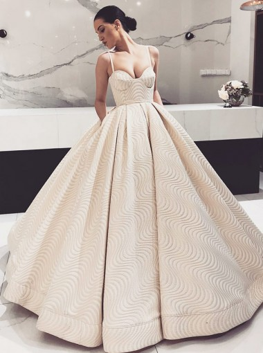 Ball Gown Spaghetti Straps Light Champagne Quinceanera Dress