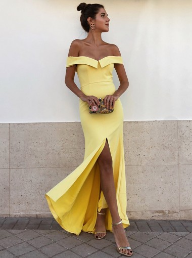 Sheath Off-the-Shoulder Yellow Satin Long Prom Party Dress with Split