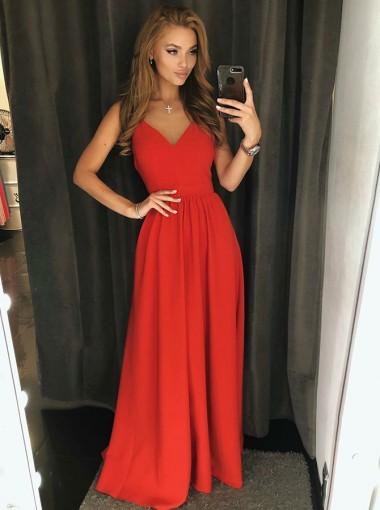 A-Line V-Neck Backless Floor Length Red Satin Prom Dress