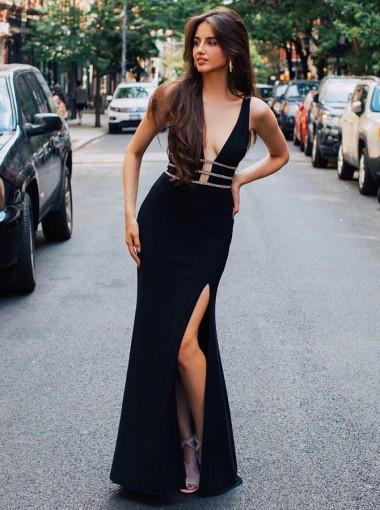Sheath V-Neck Floor Length Black Satin Homecoming Party Dress with Beading Split