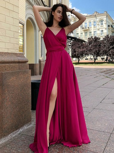 A-Line V-Neck Floor Length Sleeveless Red Satin Prom Dress with Split