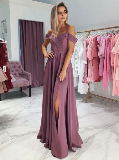 A-Line Cold Shoulder Purple Satin Prom Party Dress with Split