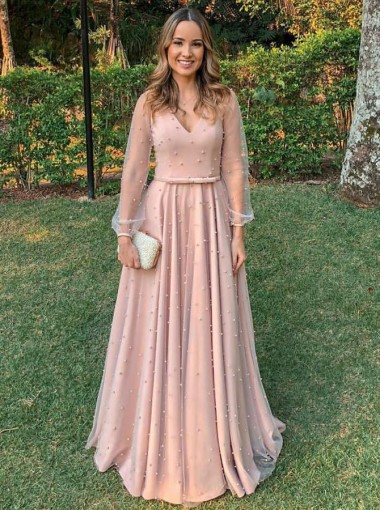 A-Line V-Neck Long Sleeves Pink Tulle Evening Prom Dress with Pearls Belt